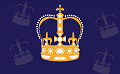 Royal crown on blue background.